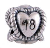 18th Birthday Bead for Pandora Jewellery or Similar 100% 925 Sterling Silver