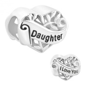 Pugster I Love You 925 Silver Heart Daughter Charms Sale Cheap Jewellery Bead fit Pandora Bracelet ...