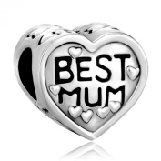 Pugster Best Mum Silver 925 Heart Charms fit Pandora charm Bracelet Gifts for Mother