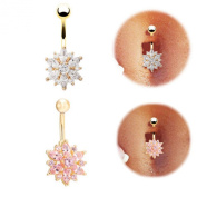 Chnli Fashion Women Sexy Gold Pleated Crystal Belly Navel Ring Rhinestone Flower Decoration Body Piercing Jewellery Belly Bar Button Stud Set