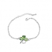 SwirlColor Fashion Women Silver Adjustable Four-leaf Clover Bracelet Crystal Bracelet