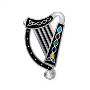 Sea Gems Celtic Lands Fine Enamel Celtic Knot Harp Brooch