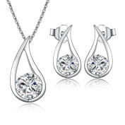 "New Arrival ""Charming"" 925 Women's Crystal Solid Silver Attractive Simulated Diamond Jewellery Sets Pendant Necklace Chain of 46 cm +Matching Stud Earrings - Quality Gift For Wedding Bridesmaid Party"