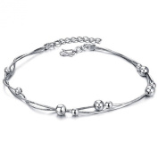 ONEWORLD Women Platinum Plated Anklet Polished Balls Inlay Pendant Foot Leg Chain Length Adjustable Anti-Allergy/Anti-Colour Fading