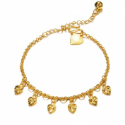 ONEWORLD Women 18K Gold Plated Anklet Hearts Carved Tassels Foot Leg Chain Length Adjustable Anti-Allergy/Anti-Colour Fading