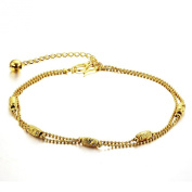 ONEWORLD Women 18K Gold Plated Anklet Bells/Multi-Layer Foot Leg Chain Length Adjustable Anti-Allergy/Anti-Colour Fading