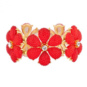 Lux Accessories Red Floral Flower Crystal Stretch Bracelet
