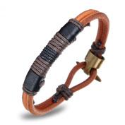 ONEWORLD Men Genuine Cattlehide Leather/Braided Hemp Cuff Bracelet Copper Buckle Slim Bangle Fashion Accessory Anti-Allergy