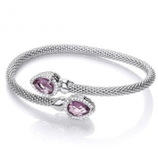 J JAZ - Sterling Silver Cross Over Mesh Bangle With Pear Shaped Amethyst Hallmarked