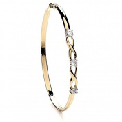 JQS - 9ct Yellow Gold Twisted Bangle Set With 3 Brilliant Cut Cz Stones 4.0G Hallmarked