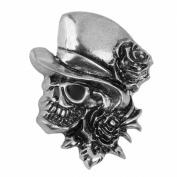 Rose Skull with Hat Brooch Pin Halloween Party Decoration Antique Silver