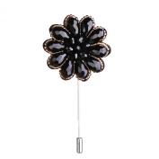 Men's Suit Boutonniere Lapel Tie Hat Pin Rhinestone Beaded Flower Brooch Black + Gold