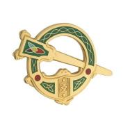 Solvar Tara Brooch Gold Plated & Green Made in Ireland