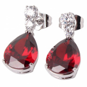 GULICX Fashion Jewellery 18k White Gold Plated Red Cubic Zirconia Tear Drop Dangle Earrings