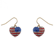 Lux Accessories God Bless American Pave Crystal Flag 4th Of July Heart Dangle Earrings