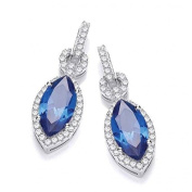 J JAZ - Sterling Silver Micro Pave & Sapphire Blue Marquise Cz Drop Earrings Hallmarked