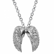 ONEWORLD Titanium Stainless Steel Anti-Allergy Necklace Angel Wings Shape Carved Pendant Colour Fading Proof -With 50cm Chain