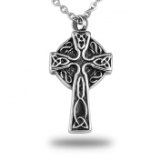 HooAMI Trinity Knot Celtic Cross Cremation Urn Necklace Memorial Ash Keepsake Stainless Steel Pendant