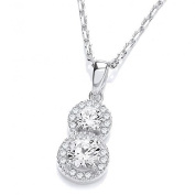J JAZ - Sterling Silver & Micro Pave Cz Brilliant Cluster Pendant 46cm Necklace Hallmarked