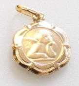 9ct Gold Guardian Angel Pendant Charm