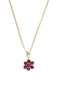 9ct Gold Real Ruby Cluster Pendant
