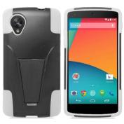 Black White HyBrid Rubber Soft Skin Kickstand Case Hard Cover For LG Google Nexus 5 D820