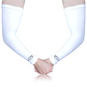 Full Force Arm Sleeves Shooters with UV Protection for Golf Basketball Football Cycling Running white