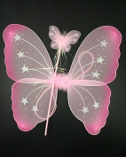 Allsorts® Girls Pink Wings and Wand Fancy Dress Costume Angel Fairy Wings