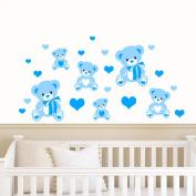 Teddybears & Hearts - Blue - Childrens Nursery Printed Wall Art Vinyl Stickers - by Rubybloom Designs