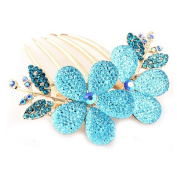 Womens Floral Design Alloy Rhinestone Crystal Hair Clip Comb