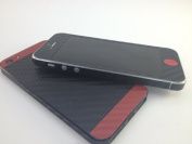 Two Tone Textured Carbon Black-Red iPhone 5 Skin Sticker Wrap Cover