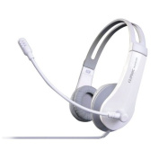 CLiPtec® BUH240 U-Wave - USB Multimedia Internet Telephony On-Ear, Mic, USB Headset PC, Laptop, Computer [In-line volume/mic control] - White