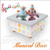 Baby Childrens Wooden Musical Box with Dancing Space Man & Rocket - Perfect Baby Gift