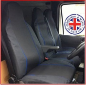 Ford Transit T280 TDCi Van Seat Covers Single Drivers And Double Passengers Seat Covers Black And Blue Piping