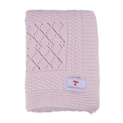 Patterned Knitted Baby Blankets-Softest Pink