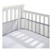 BreathableBaby 4-Sided Cot Mesh Liner (White with Silver Trim_
