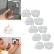 10 MAINS ELECTRICAL PLUG SOCKET SAFETY COVERS BABY PROOF CHILD SAFETY PROTECTOR