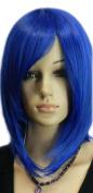 Qiyun Medium Short Shoulder Length Dark Blue Straight Bob Synthetic Hair Full Wig