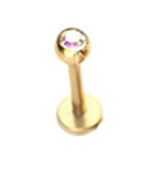 Gekko Body Jewellery Gold Plated Labret Monroe Tragus Bar Stud with Multi-Coloured Gem - 1.2mm x 8mm