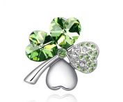 Austrian Crystal Sweet Love Heart Four Leaves Clover Brooches White Gold Plated Women Girls Gift