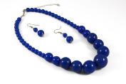 Jays Jewellery - Blue Graduated Bead Necklace with matching earring