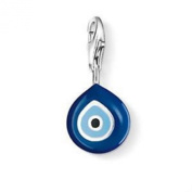LOVELY SILVER AND BLUE EVIL EYE CLIP ON CHARM - 925 SILVER PLATE - FREE P & P