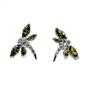 The Silver Plaza Sterling Silver Olive Green CZ Dragonfly Stud Earrings