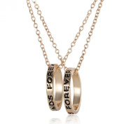 2 piece Friendship Necklace Two Rings Gold Tone Best Friend Forever Elegant Gift Necklace for friends friendship necklace for 2
