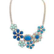 This is a Delicate and Sweet High Fashion Blue & Crystal Flower Statement Necklace. Ideal Mothers Day Gift or for Everyday Wear for S/S14 and Weddings, Proms NH1008
