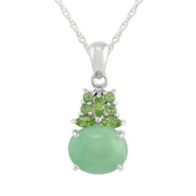 Green Jade 4.03ct & Peridot 0.36ct 925 Sterling Silver Cluster Pendant on Chain