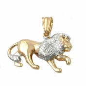 Jewellery necklace pendant lion frosted glossy of 375 gold 23x15mm