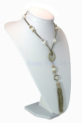 Extra Large White Leatherette Necklace Display Bust 35cm tall