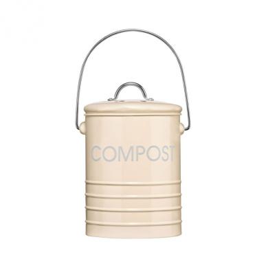 Cream Kitchen Compost Waste Bin Caddy With Zinc Handle & Lid Brand New