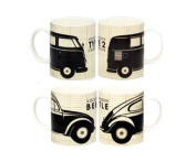 Officially Licenced VW Volkswagen Mono Campervan And Beetle Coffee Mug Twin Set